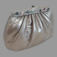 Judith Leiber Silver Snakeskin KARUNG Jeweled Handbag  ~  Original Mirror & Coin Purse