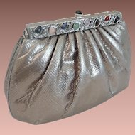 Elegant Judith Leiber Silver Snakeskin KARUNG Jeweled Handbag  ~  Original Mirror & Coin Purse ~ A BEAUTY!
