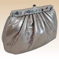 Elegant Judith Leiber Silver Snakeskin KARUNG Jeweled Handbag  ~  Original Mirror & Coin Purse ~ A BEAUTY!