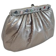 Elegant Judith Leiber Silver Snakeskin KARUNG Jeweled Handbag  ~  Original Comb, Mirror & Coin Purse ~ A BEAUTY!