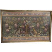 Charming Antique English Embroidery Fragment Framed with Birds, Dogs/Foxes and Flowers ~ Absolutely Wonderful!  ~ Awesome Deep Jeweled Color ~