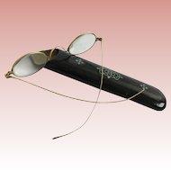 Antique Gold Glasses &  Papier Mache Silver Glass Case  ~ Papier Mache with Wonderful Silver Pique
