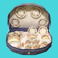 Rare Capodimonte Tea Set in Presentation Box ~  6 Cups, 6 Saucers, Cream, Sugar & the Grandest Teapot