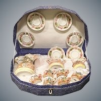 Rare Capodimonte Tea Set in Presentation Box ~ AS IS! ~ 6 Cups, 6 Saucers, Cream, Sugar & the Grandest Teapot