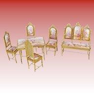 Exquisite Antique Viennese Miniature Salon Set  ~ Six Wonderful Pieces ~ A Settee with Four Enamel Plaques, Four Matching Chairs &  a Tea Table