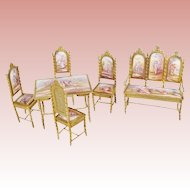 Exquisite Antique Viennese Miniature Salon Set  ~ Six Wonderful Pieces ~ A Settee with Four Enamel Plaques, Four Matching Chairs &  a Tea Table