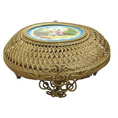Extraordinary Beautiful Antique Bronze Basket Casket with a Pastoral Porcelain Plaque ~ This Was Used as a  Potpourri Basket  ~ A Fabric Fragment  with Lady's Favorite Fragrance
