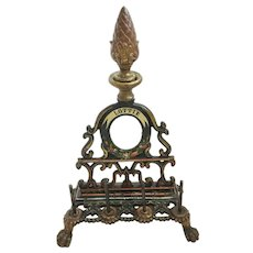 """Adorable Antique  Painted Iron Sewing Spool Holder with Mirror """"Lottie""""~ Holds  Spools & Needle Packs, Letters etc  ~ Must has been a Treasure that Belonged to Lottie"""