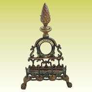 """Antique  Painted Iron Sewing Spool Holder with Mirror """"Lottie""""~ Holds  Spools & Needle Packs, Letters etc  ~ Must has been a Treasure that Belonged to Lottie"""