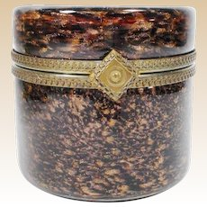 "Magnificent Vintage Murano Round Brown Bronze Hinged Box ~ Ornate Gilt Mounts & Large Ornate Lift Clasp ""LUSCIOUS"""