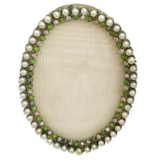"LAYAWAY  Antique French Jeweled Oval Table Top Frame ""Faux Pearls & Emeralds ~ Very Fine Bronze Jeweled Frame  & Ready for Your Special  Photo"