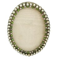 """EXQUISITE  Antique French Jeweled Oval Table Top Frame """"Faux Pearls & Emeralds ~ Very Fine Bronze Jeweled Frame  & Ready for Your Special  Photo"""