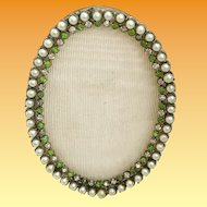 "EXQUISITE  Antique French Jeweled Oval Table Top Frame ""Faux Pearls & Emeralds ~ Very Fine Bronze Jeweled Frame  & Ready for Your Special  Photo"