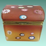 Vintage Murano Millefiori Dome Top Hinged Box ~ Beautiful Ornate Mounts &  Lift Clasp ~ Rare Unusual Shape