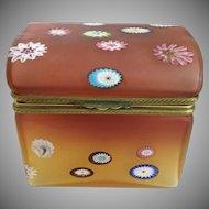 Vintage Murano Millefiori Dome Top Hinged Box ~ Beautiful Ornate Mounts &  Lift Clasp ~ Rare Unusual Shape