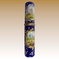GRANDEST Antique English Enamel Bodkin Case  Billet Doux  ~  Beautiful Enamel with Four Scene