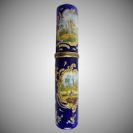 GRANDEST Antique English Enamel Bodkin Case  Billet Doux  ~  Beautiful Enamel with Four Scene