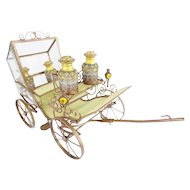 "15"" Antique French Jeweled Bronze Carriage ~  Four Magnificent Opaline Scent Bottles in a Regal Gilt Ormolu Carriage ~"
