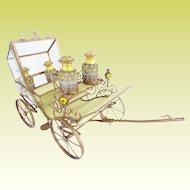 """15"""" Antique French Jeweled Bronze Carriage ~  Four Magnificent Opaline Scent Bottles in a Regal Gilt Ormolu Carriage ~"""