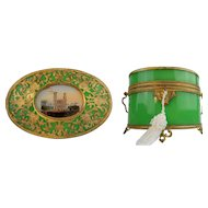 """Exquisite Antique French Green Opaline Double Handle Casket with Big Eglomise ~ The Top is Covered in Gilt Ormolu Lace ~ 2 ¾"""" Eglomise"""