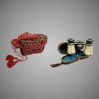 "E      Antique French Paris' ""La Ville"" Mother of Pearl Opera Glasses ~ Original Case &  Old Red Purse"