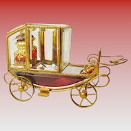 """Grandest 10 ½"""" Antique Scent Coach Fit for a Queen!  ~ Matching Pair of Magnificent Red Jeweled Scent Bottles Fitted in Regal Gilt Ormolu ~"""