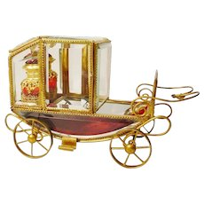 "Grandest 10 ½"" Antique Scent Coach Fit for a Queen!  ~ Matching Pair of Magnificent Red Jeweled Scent Bottles Fitted in Regal Gilt Ormolu ~"