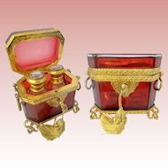 Glorious Grand Tour Red Scent Casket ~  Extraordinary Gilt Ormolu Double Handles, Mounts, &  Footed Base  ~  Two Magnificent Scent Bottles with Hand painted Tops