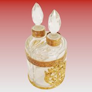 Antique French Empire Scent Caddy ~ AWESOME Gilt Ormolu  ~ 2 Crystal Bottle with Gilt Collars & Crystal Stopper ~ STAMPED : FRANCE