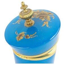 Antique Blue Opaline Casket Hinged Box~ Pretty Ornate Gilt Mounts & Fabulous Finial ~  Stunning Gilding on this BIG! BOLD & BEAUTIFUL Hinged Box