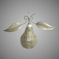 Vintage Estate Silver Pear Rosewater Sprinkler ~ Magnificent Floral and Foliage