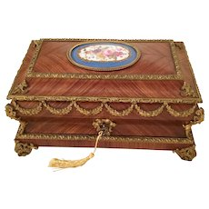 Grandest 19C  Kingwood Bronze Mounted Casket Hinged  Box ~ Magnificent Bronze Mounts &  Large Exquisite Porcelain  Plaque