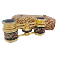 Wonderful Antique French Petit Point Opera Glasses ~  Original Case ~ Stamped: FRANCE ~