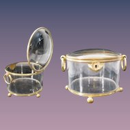 Antique French Crystal Double Handle Dome Top Casket Hinged Box ~ Exquisite Box with Four Bronze Ball Footed Base