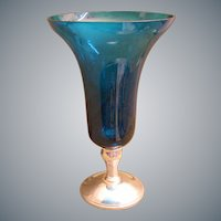 Stunning  Gorham Sterling Candle Stick with a Turquoise Glass Vase ~  Beautiful Simply Classic Candle Stick Base is Holding an Exquisite High Quality Glass  ~ The Color is Breathtaking