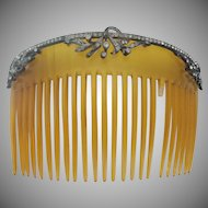 Antique French Jeweled Celluloid Hair Comb ~  AS IS!  ~ A BIG &  BEAUTIFUL Hair Comb from My Treasure Vault