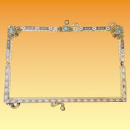 Exquisite Antique Austrian Enamel Purse Frame  ~ A Delightful Purse Frame  with Jewels & the Perfect Touch of Enamel