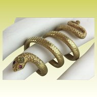 "Antique 18KARAT Yellow Gold Snake Ring ""Ruby Eyes & Diamond Crown"""