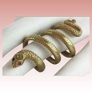 """Antique 18KARAT Yellow Gold Snake Ring """"Ruby Eyes & Diamond Crown"""""""