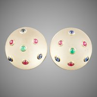 """14KARAT Frosted Crystal Earrings with Emeralds, Sapphires and Rubies ~ Earrings are Signed """"TRIANON"""""""
