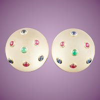 "14KARAT Frosted Crystal Earrings with Emeralds, Sapphires and Rubies ~ Earrings are Signed ""TRIANON"""