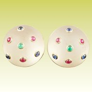 """14KARAT Frosted Crystal Earrings with Emeralds, Sapphires and Rubies….Earrings are Signed """"TRIANON"""""""