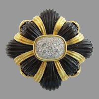 14KARAT Estate Vintage Diamond Black Onyx Broach Pendant ~  EXQUISITE & Very Fine Quality
