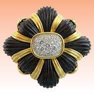 Magnificent 14KARAT Estate Vintage Diamond Black Onyx Broach Pendant…EXQUISITE & Very Fine Quality