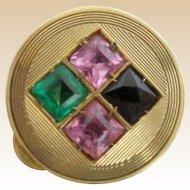 "Estate Vintage  14KARAT Pill Box  "" Blue Topaz, Emerald  &  Pink Sapphires"" AWESOME PILL BOX"