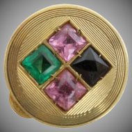 "Estate Vintage  14KARAT Pill Box  "" Blue Topaz, Emerald  &  Pink Sapphires"" AWESOME PILL BOX"