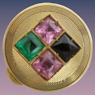 "Jeweled 14KARAT Pill Box  "" Blue Topaz, Emerald  &  Pink Sapphires"""