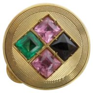 "Jeweled 14KARAT Pill Box  "" Blue Topaz, Emerald  &  Pink Sapphires"""