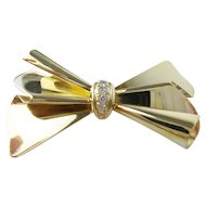 Charming Estate Vintage Italy 14K Ladies Diamond Bow Pin/Brooch.