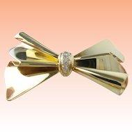 Charming Estate Vintage Italy 14K Ladies Diamond Bow Pin/Brooch.